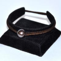 Bracelet réglable stretch marron 1 perle