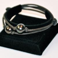 Bracelet réglable 2 perles chocoalt