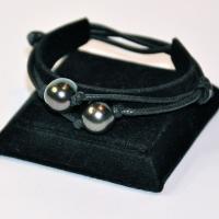 Bracelet réglable 2 perles noires
