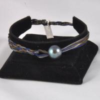 Bracelet réglable 1 perle fils Marine, Kaki, Gris