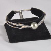 Bracelet réglable 1 perle fils: beige, gris claire, gris foncé
