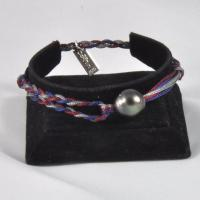 Bracelet réglable 1 perle fils: Gris, Marine, Prune.