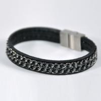 Bracelet cuir avec 2 chaînes: noires